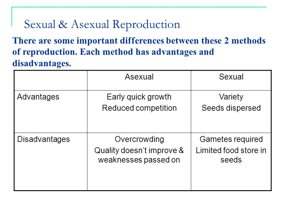Disadvantages of sexual reproduction in plants over asexual reproduction