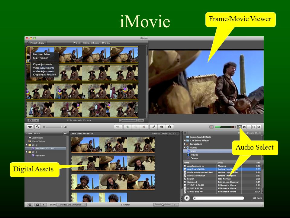 iMovie Frame/Movie Viewer Digital Assets Audio Select
