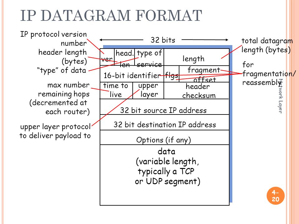 IP DATAGRAM FORMAT Network Layer ver length 32 bits data (variable length, typically a TCP or UDP segment) 16-bit identifier header checksum time to live 32 bit source IP address IP protocol version number header length (bytes) max number remaining hops (decremented at each router) for fragmentation/ reassembly total datagram length (bytes) upper layer protocol to deliver payload to head.