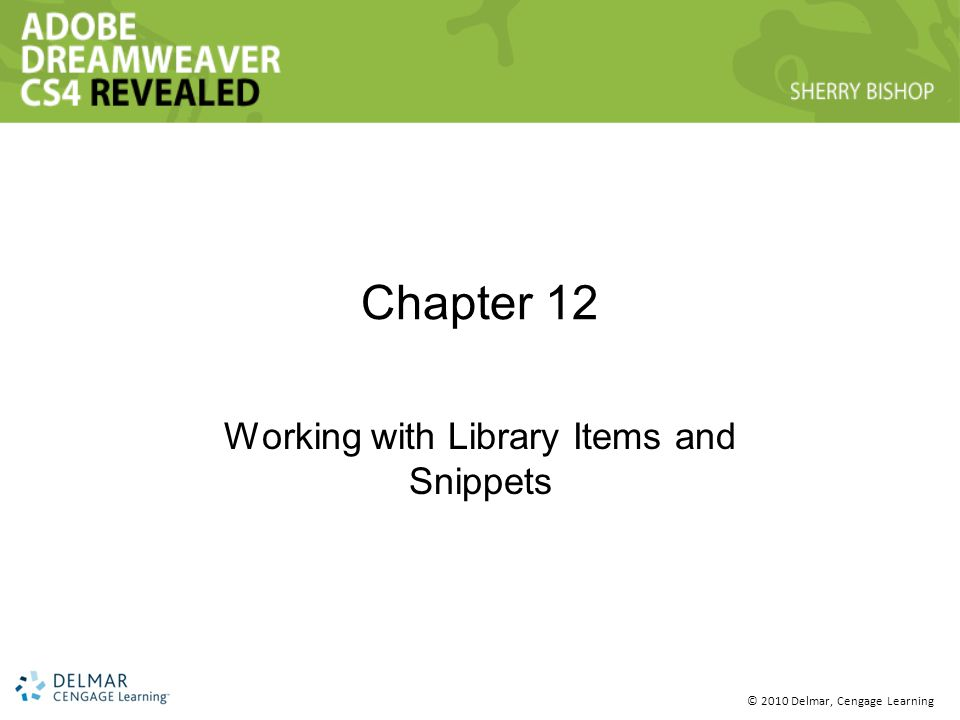 © 2010 Delmar, Cengage Learning Chapter 12 Working with Library Items and Snippets