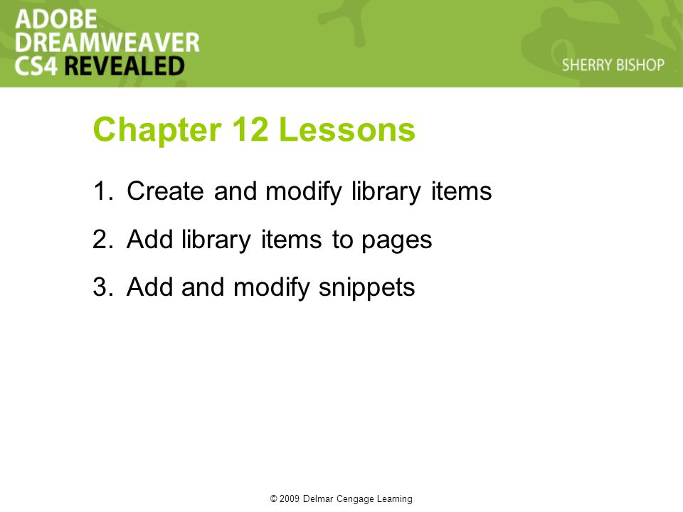 © 2009 Delmar Cengage Learning 1.Create and modify library items 2.Add library items to pages 3.Add and modify snippets Chapter 12 Lessons