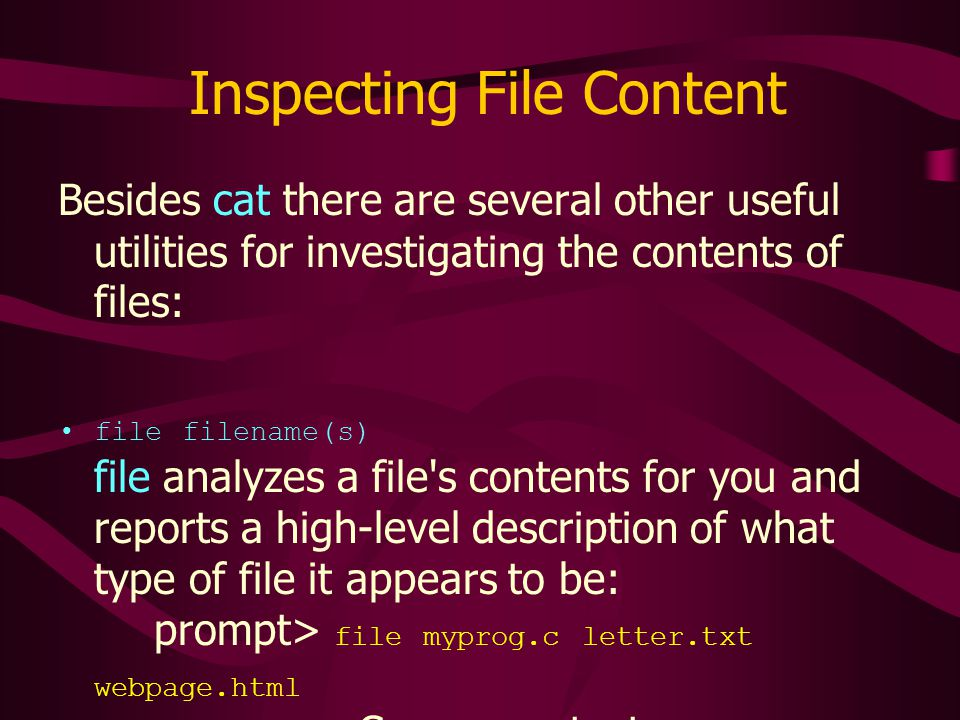 Inspecting File Content Besides cat there are several other useful utilities for investigating the contents of files: file filename(s) file analyzes a file s contents for you and reports a high-level description of what type of file it appears to be: prompt> file myprog.c letter.txt webpage.html myprog.c: C program text letter.txt: English text webpage.html: HTML document text