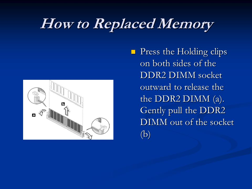 How to Replaced Memory Press the Holding clips on both sides of the DDR2 DIMM socket outward to release the the DDR2 DIMM (a).