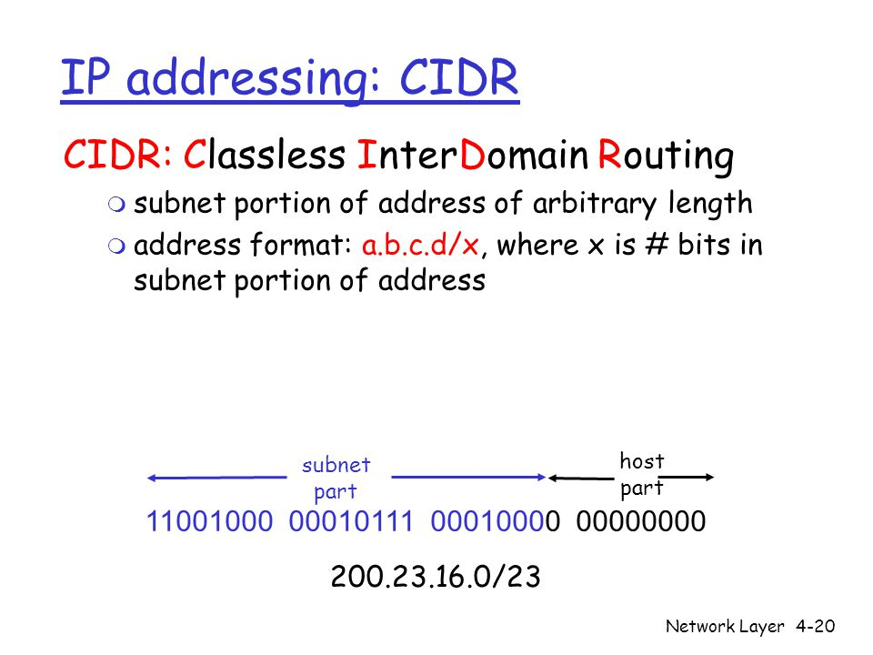 Network Layer4-20 IP addressing: CIDR CIDR: Classless InterDomain Routing m subnet portion of address of arbitrary length m address format: a.b.c.d/x, where x is # bits in subnet portion of address subnet part host part /23