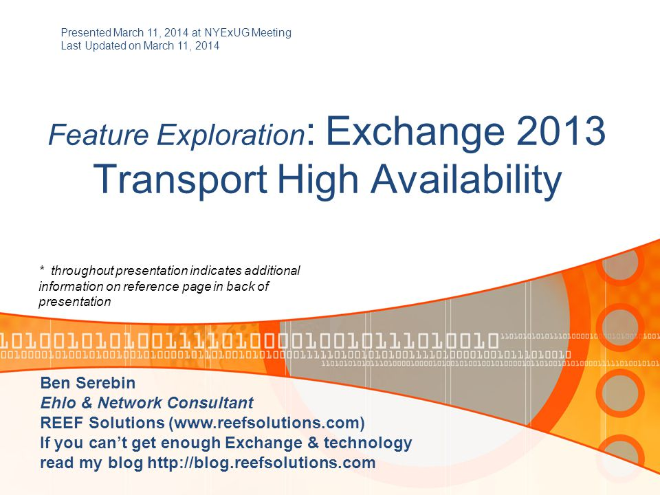 Feature Exploration : Exchange 2013 Transport High Availability