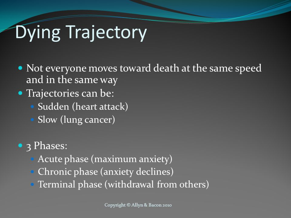 Copyright © Allyn & Bacon 2010 Dying Trajectory Not everyone moves toward death at the same speed and in the same way Trajectories can be: Sudden (heart attack) Slow (lung cancer) 3 Phases: Acute phase (maximum anxiety) Chronic phase (anxiety declines) Terminal phase (withdrawal from others)