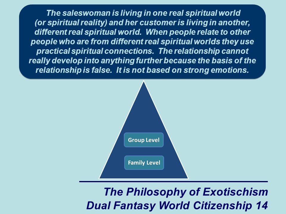 f2e1994ce 14 The Philosophy of Exotischism Dual Fantasy World Citizenship 14 The  saleswoman is living in one real spiritual world (or spiritual reality) and  her ...