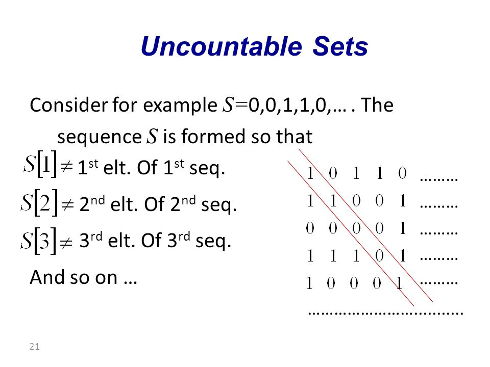 Consider for example S= 0,0,1,1,0,…. The sequence S is formed so that 1 st elt.