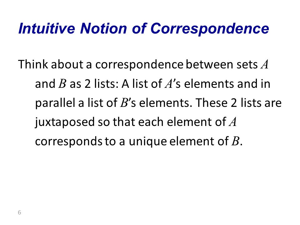 Think about a correspondence between sets A and B as 2 lists: A list of A 's elements and in parallel a list of B 's elements.