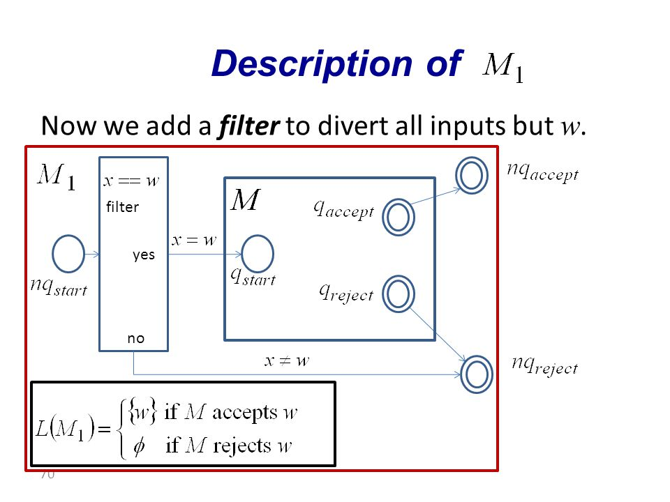 Now we add a filter to divert all inputs but w. Description of 70 filter no yes