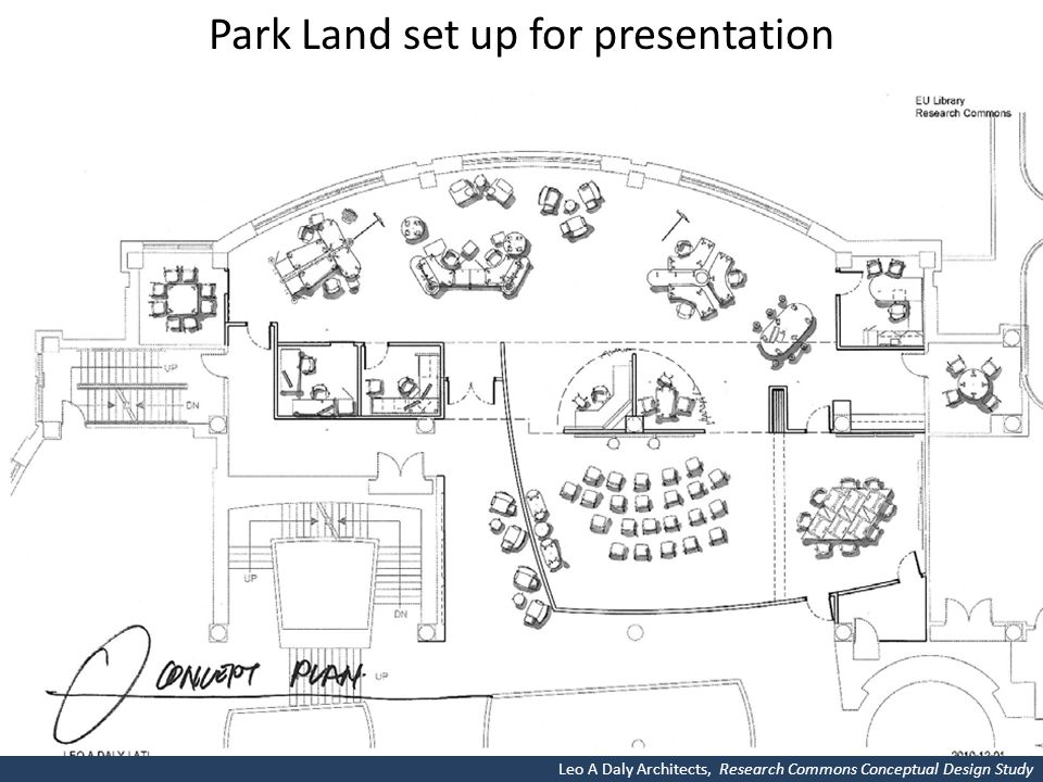 Park Land set up for presentation Leo A Daly Architects, Research Commons Conceptual Design Study