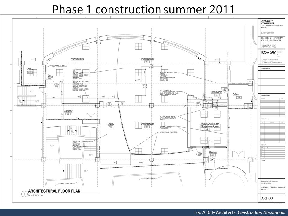 Phase 1 construction summer 2011 Leo A Daly Architects, Construction Documents