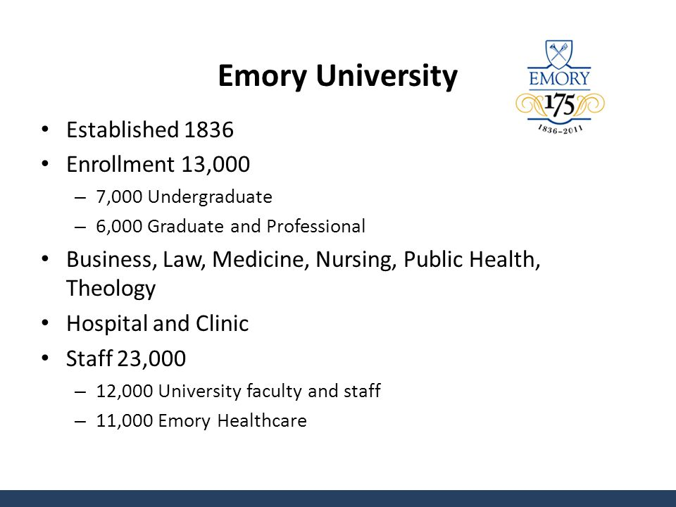 Emory University Established 1836 Enrollment 13,000 – 7,000 Undergraduate – 6,000 Graduate and Professional Business, Law, Medicine, Nursing, Public Health, Theology Hospital and Clinic Staff 23,000 – 12,000 University faculty and staff – 11,000 Emory Healthcare