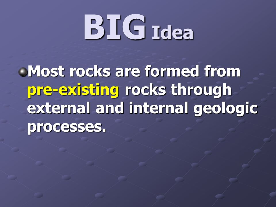 BIG Idea Most rocks are formed from pre-existing rocks through external and internal geologic processes.