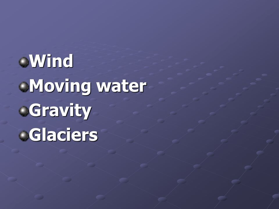 Wind Moving water GravityGlaciers
