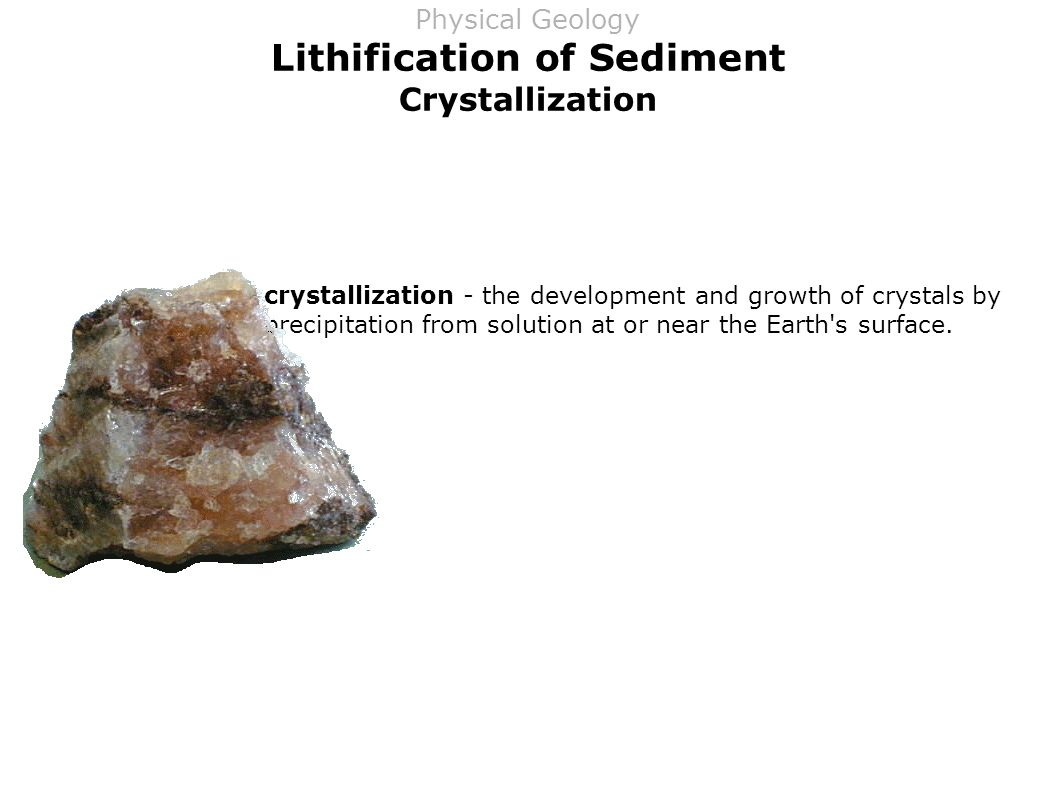 Lithification of Sediment Crystallization crystallization - the development and growth of crystals by precipitation from solution at or near the Earth s surface.