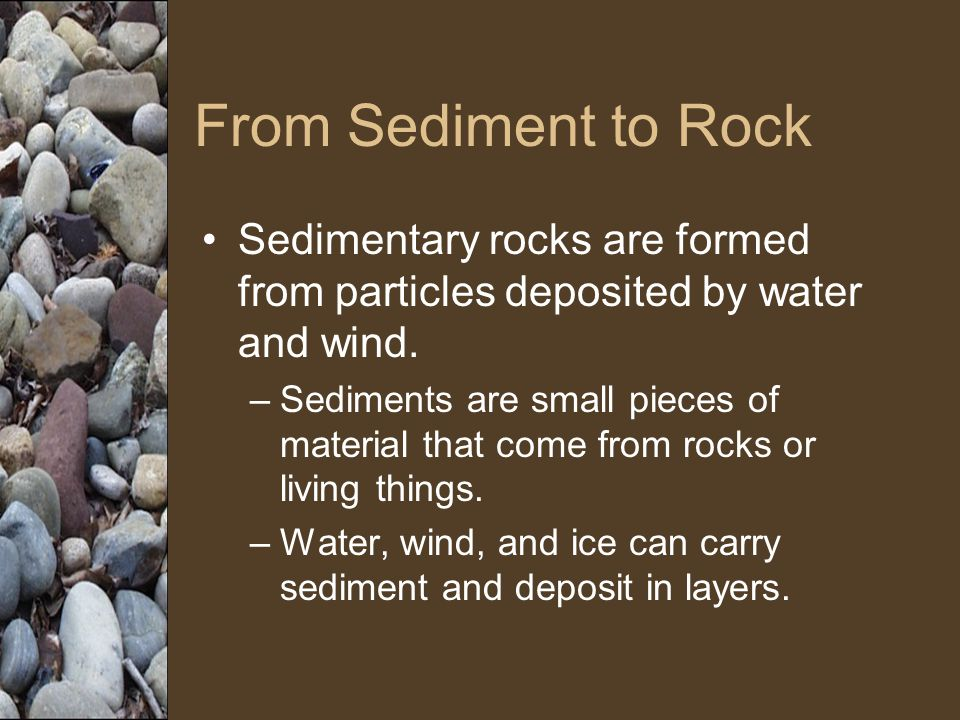 From Sediment to Rock Sedimentary rocks are formed from particles deposited by water and wind.