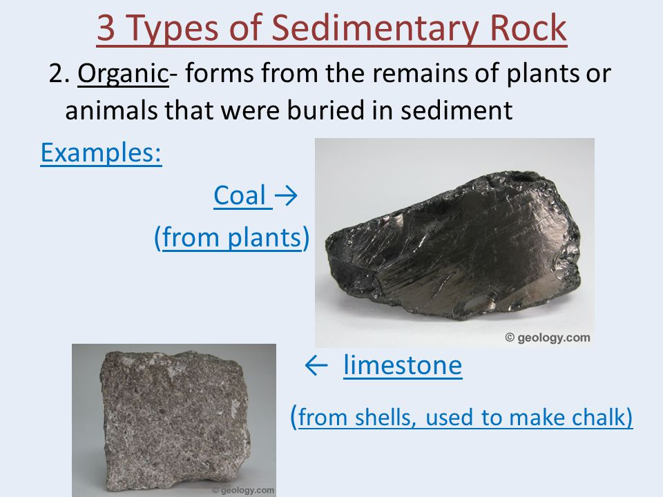 3 Types of Sedimentary Rock 2.