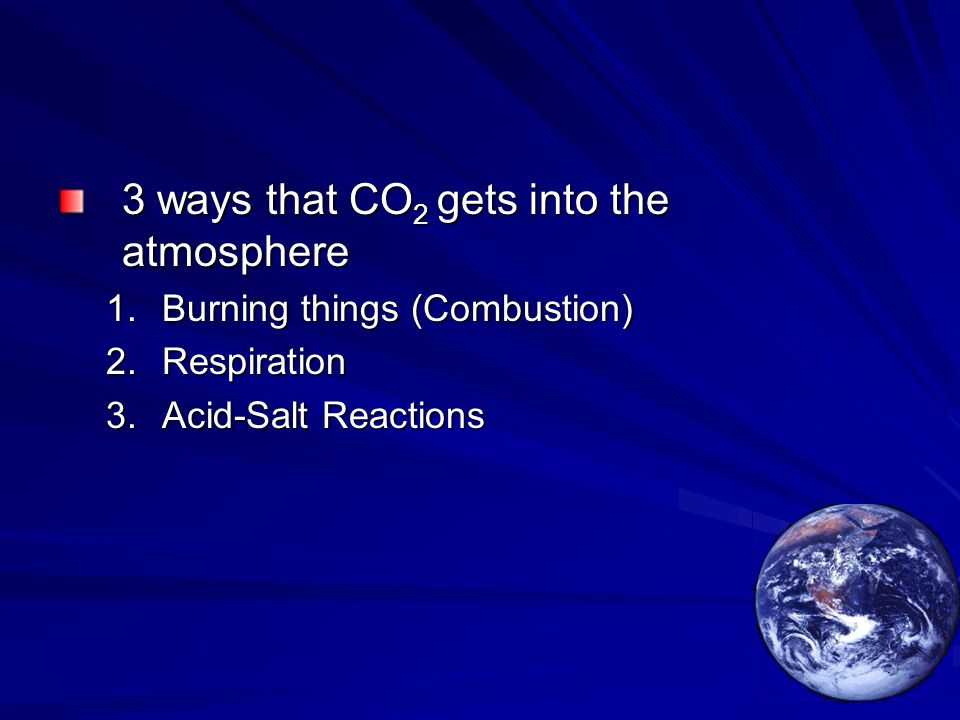 3 ways that CO 2 gets into the atmosphere 1.Burning things (Combustion) 2.Respiration 3.Acid-Salt Reactions
