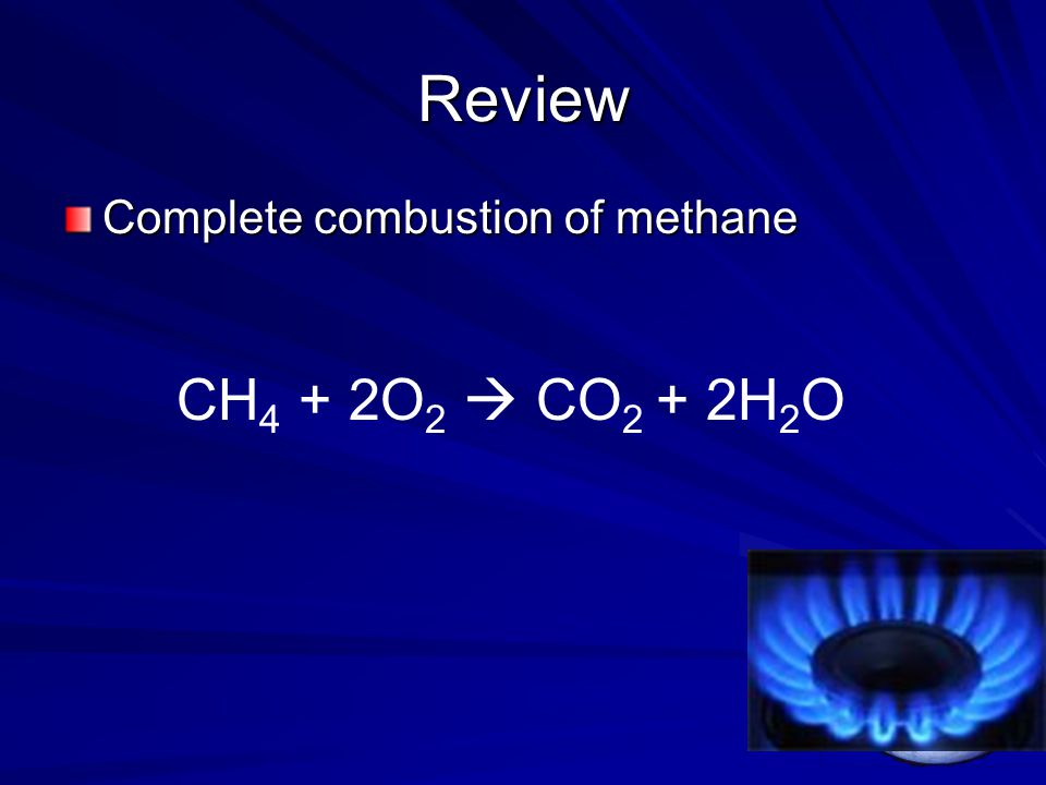 Review Complete combustion of methane CH 4 + 2O 2  CO 2 + 2H 2 O