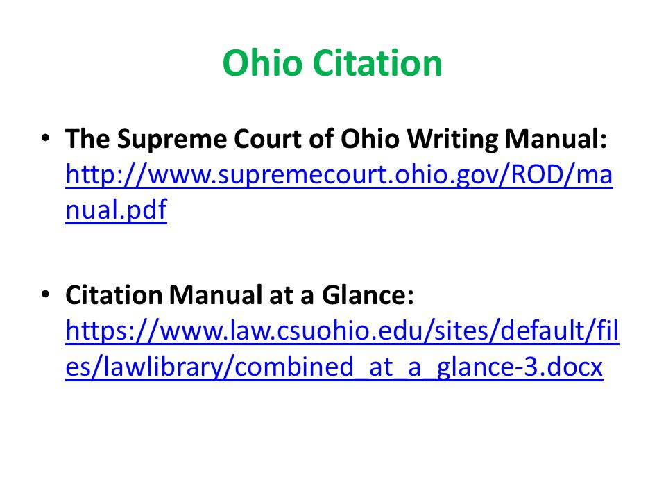 27 Ohio Citation The Supreme Court Of Writing Manual