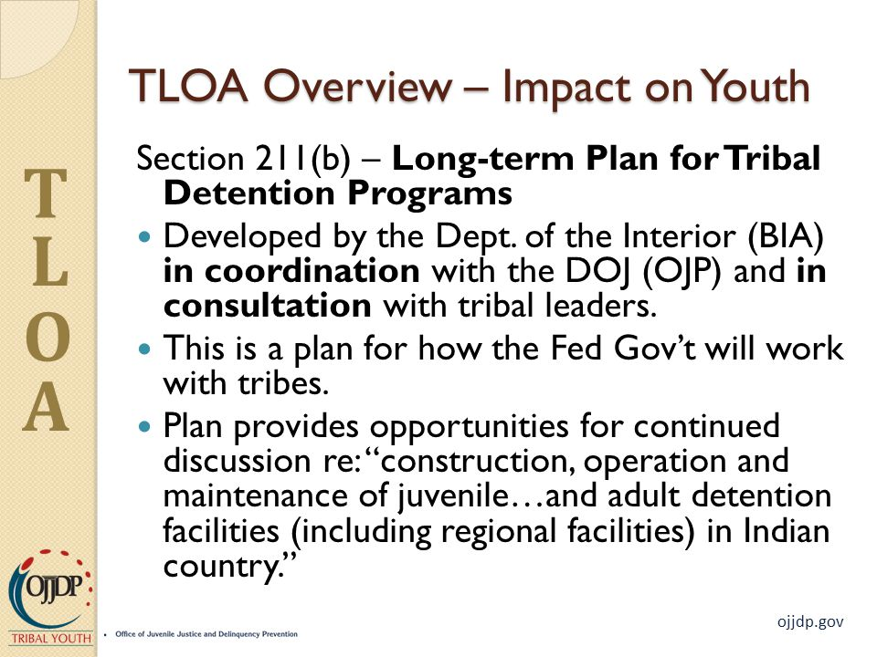 ojjdp.gov T L O A TLOA Overview – Impact on Youth Section 211(b) – Long-term Plan for Tribal Detention Programs Developed by the Dept.