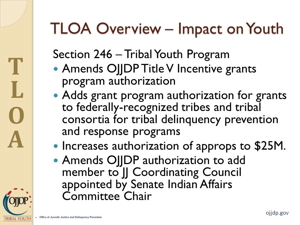 ojjdp.gov T L O A TLOA Overview – Impact on Youth Section 246 – Tribal Youth Program Amends OJJDP Title V Incentive grants program authorization Adds grant program authorization for grants to federally-recognized tribes and tribal consortia for tribal delinquency prevention and response programs Increases authorization of approps to $25M.