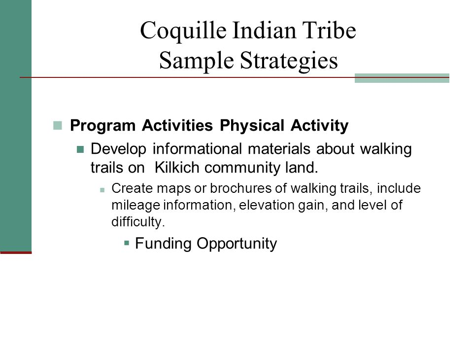 Coquille Indian Tribe Sample Strategies Program Activities Physical Activity Develop informational materials about walking trails on Kilkich community land.