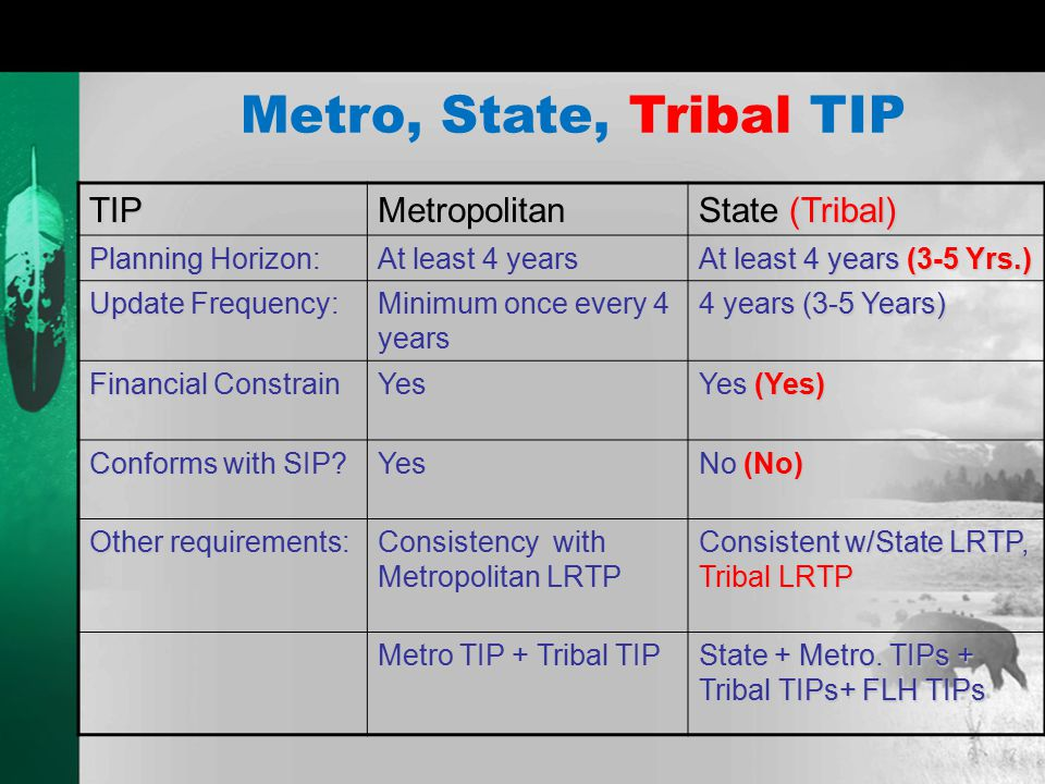 Metro, State, Tribal TIP TIPMetropolitan State (Tribal) Planning Horizon: At least 4 years At least 4 years (3-5 Yrs.) Update Frequency: Minimum once every 4 years 4 years (3-5 Years) Financial Constrain Yes Yes (Yes) Conforms with SIP.