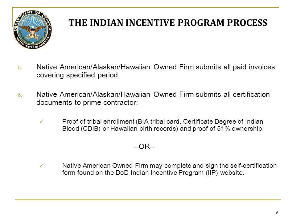 May, Indian Incentive Program Briefing DoD Office of Small Business ...