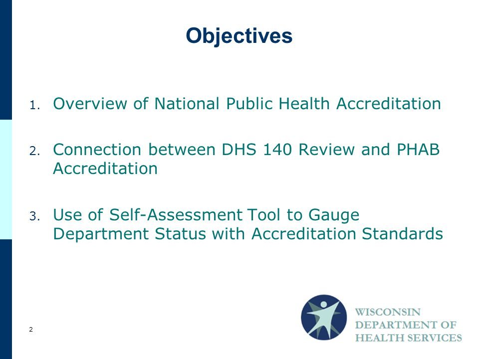 1. Overview of National Public Health Accreditation 2.
