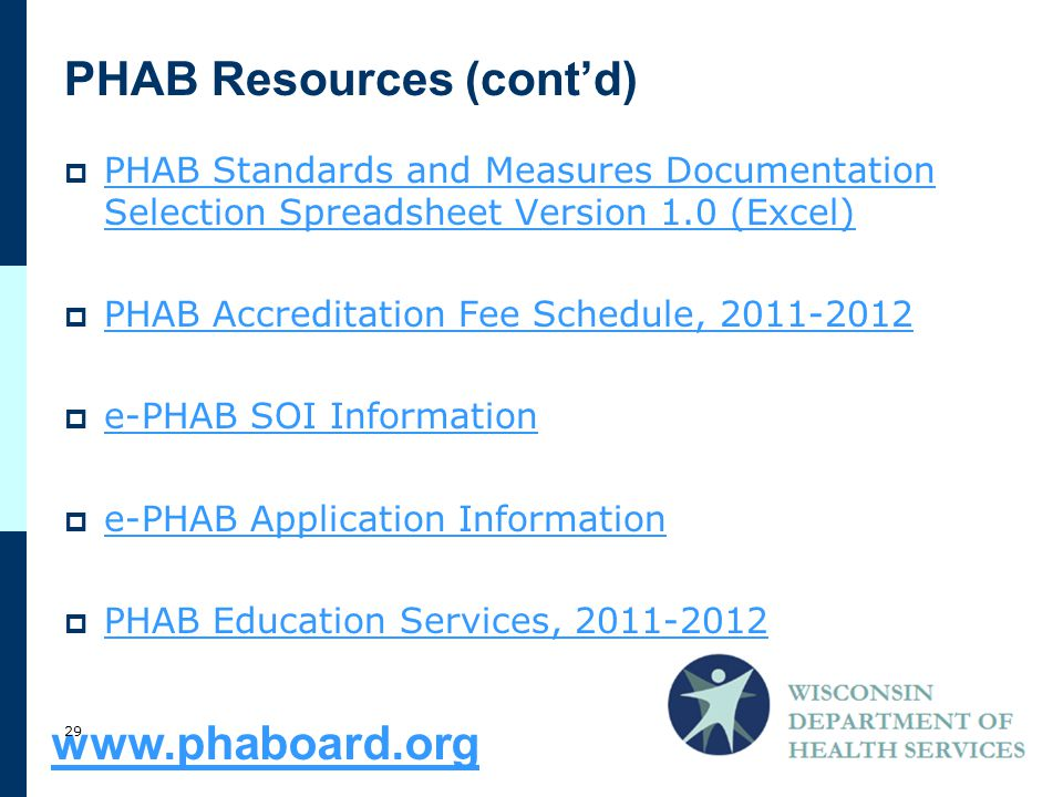 PHAB Resources (cont'd)  PHAB Standards and Measures Documentation Selection Spreadsheet Version 1.0 (Excel) PHAB Standards and Measures Documentation Selection Spreadsheet Version 1.0 (Excel)  PHAB Accreditation Fee Schedule, PHAB Accreditation Fee Schedule,  e-PHAB SOI Information e-PHAB SOI Information  e-PHAB Application Information e-PHAB Application Information  PHAB Education Services, PHAB Education Services,