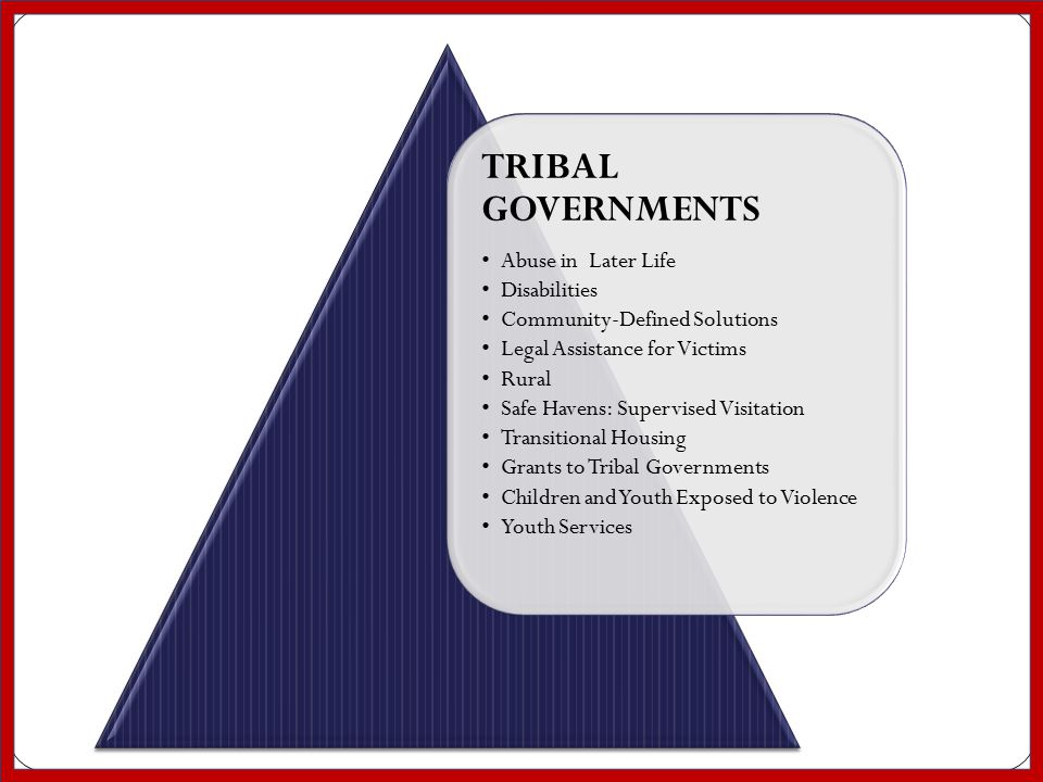 TRIBAL GOVERNMENTS Abuse in Later Life Disabilities Community-Defined Solutions Legal Assistance for Victims Rural Safe Havens: Supervised Visitation Transitional Housing Grants to Tribal Governments Children and Youth Exposed to Violence Youth Services