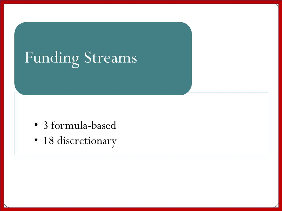 3 formula-based 18 discretionary Funding Streams