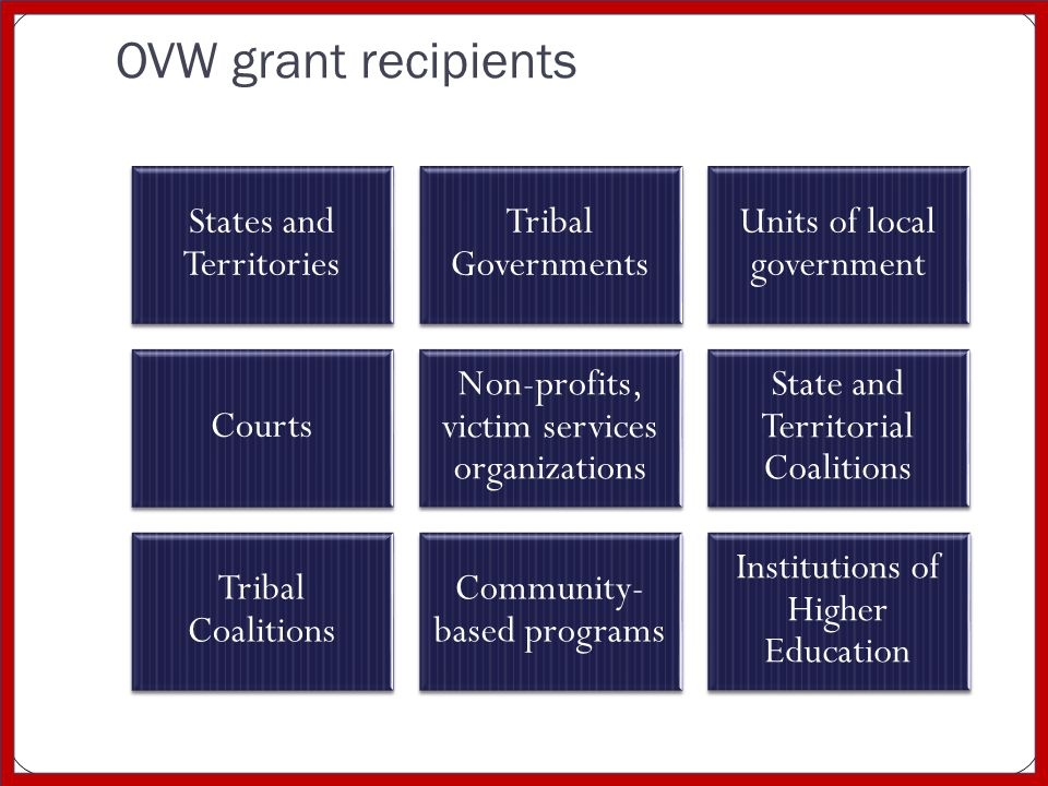 OVW grant recipients States and Territories Tribal Governments Units of local government Courts Non-profits, victim services organizations State and Territorial Coalitions Tribal Coalitions Community- based programs Institutions of Higher Education