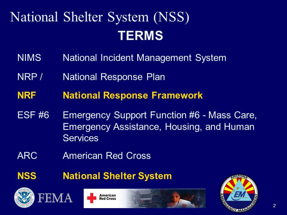 National Shelter System (NSS) 1 Federal Emergency Management
