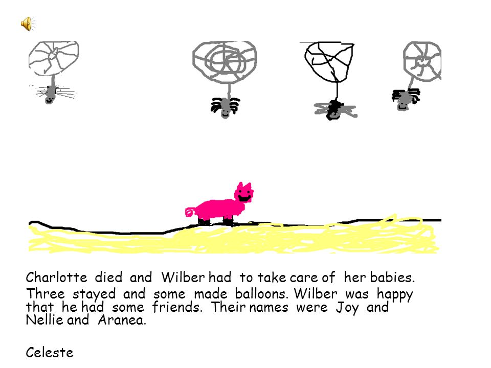 On the last day Charlotte dies, but Wilbur wants to save her babies.