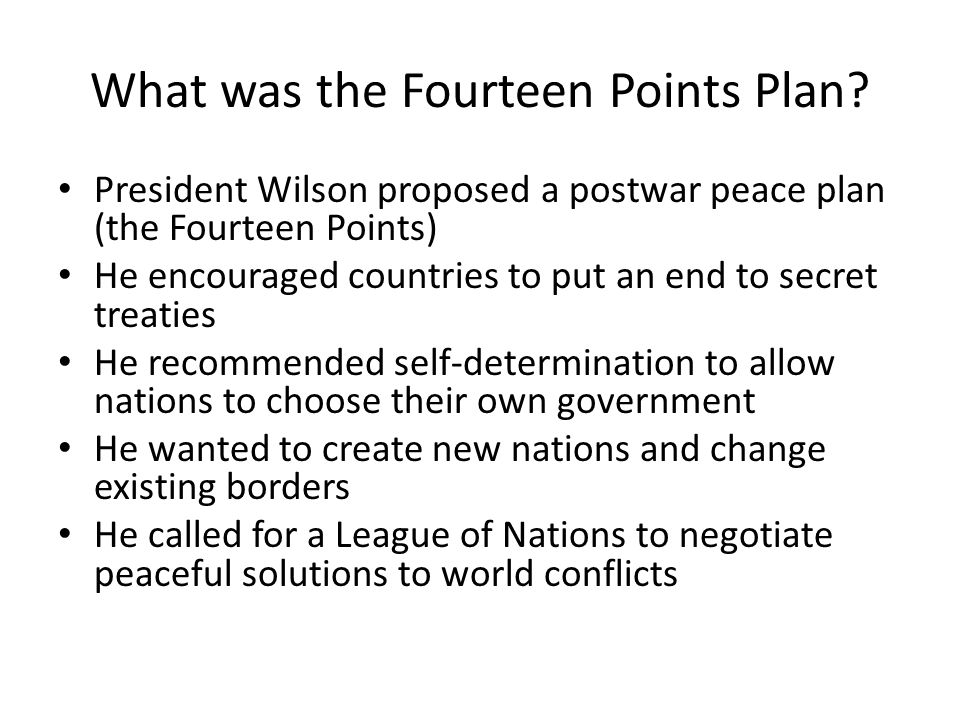 What was the Fourteen Points Plan.