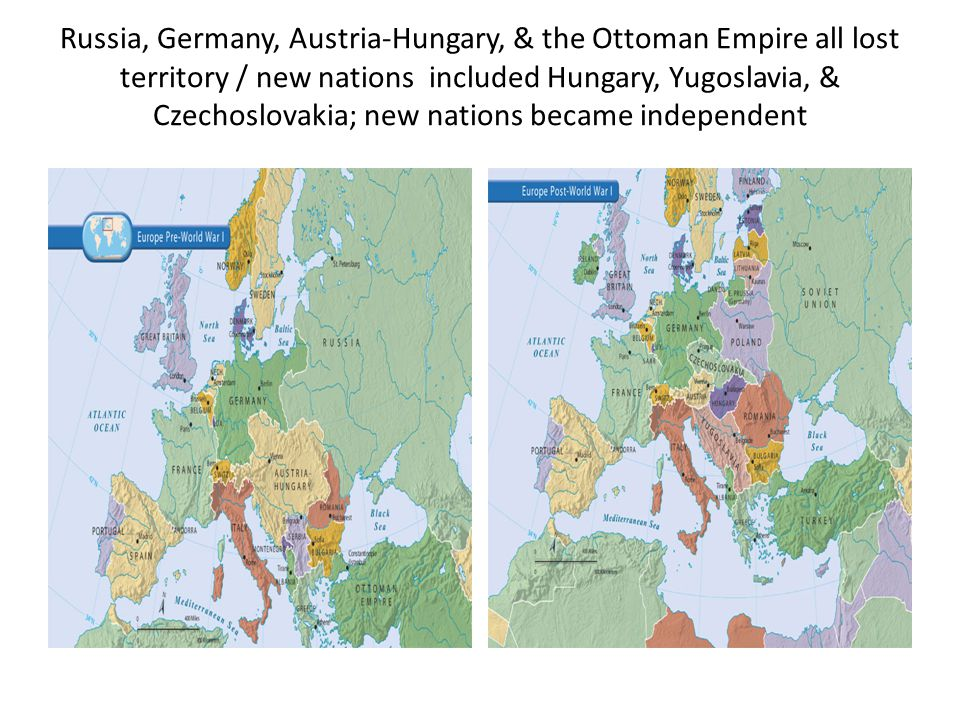 Russia, Germany, Austria-Hungary, & the Ottoman Empire all lost territory / new nations included Hungary, Yugoslavia, & Czechoslovakia; new nations became independent