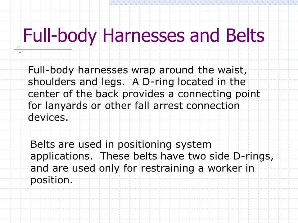 Full-body Harnesses and Belts Full-body harnesses wrap around the waist, shoulders and legs.