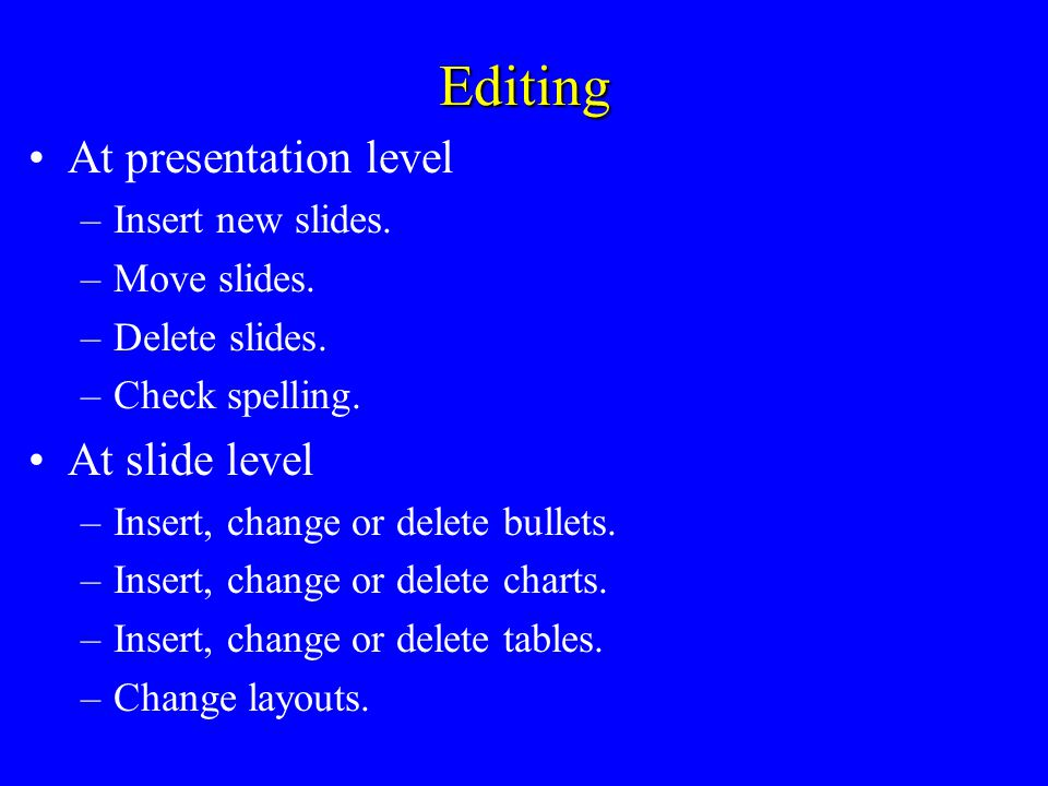 Creating Design the slides, on paper if necessary –Layout bulleted lists.