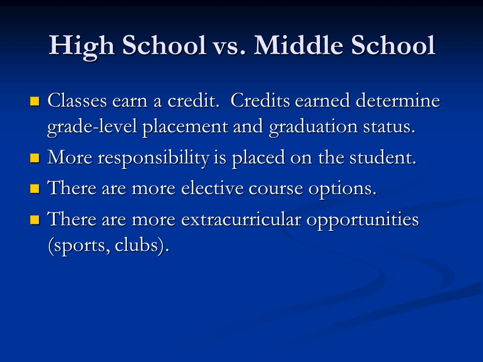 High School vs. Middle School Classes earn a credit.