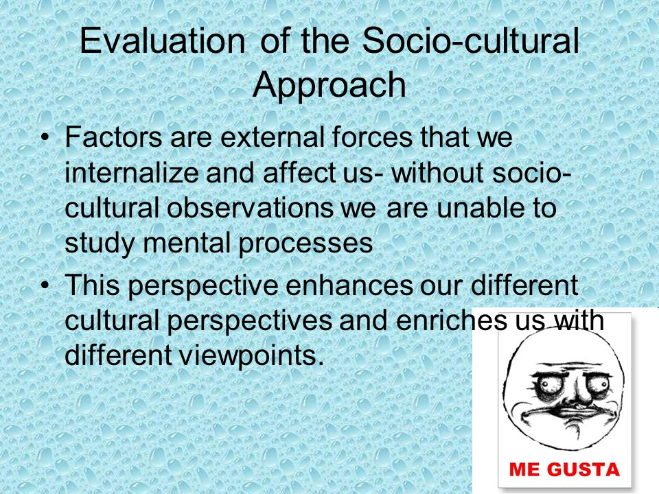 Evaluation of the Socio-cultural Approach Factors are external forces that we internalize and affect us- without socio- cultural observations we are unable to study mental processes This perspective enhances our different cultural perspectives and enriches us with different viewpoints.