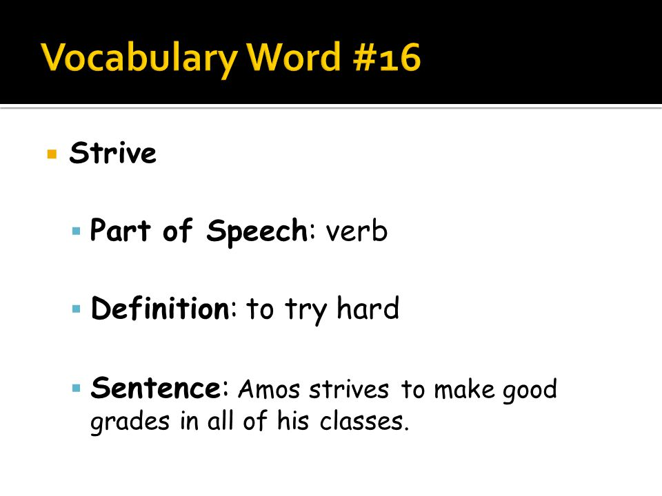Word Definition Part Of Speech Sentence Picture Ppt