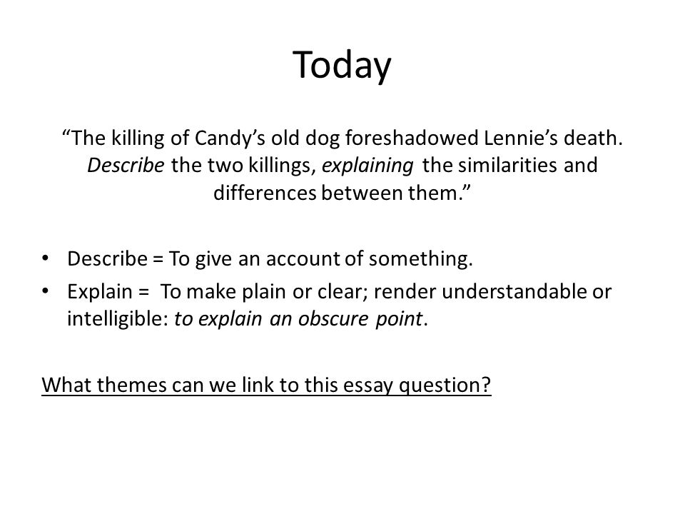 Essay About English Class Today The Killing Of Candys Old Dog Foreshadowed Lennies Death Examples Of A Thesis Statement In An Essay also Thesis Example Essay Essay Writing For Of Mice And Men Shape Of An Essay  Ppt Download Top English Essays