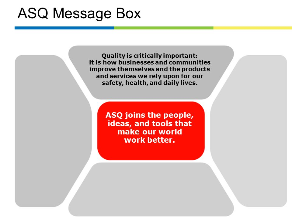 ASQ Message Box Quality is critically important: it is how businesses and communities improve themselves and the products and services we rely upon for our safety, health, and daily lives.