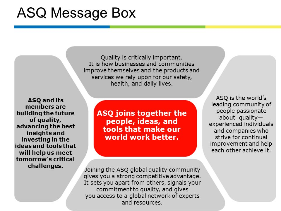 ASQ Message Box Joining the ASQ global quality community gives you a strong competitive advantage.