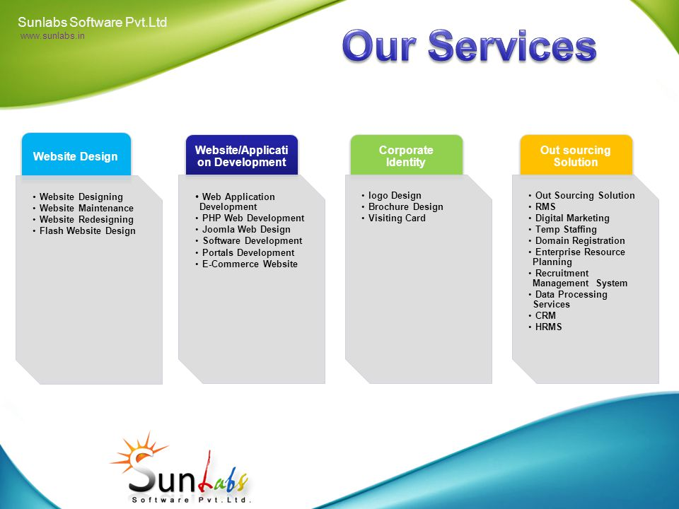 Sunlabs Software (P) LIMITED.(SSPL) is one of the excellent service providers in India, offering a software development and variety of website designing services to organizations.