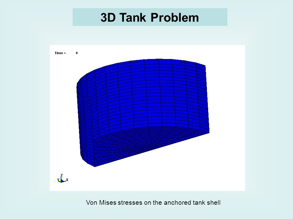 3D Tank Problem Von Mises stresses on the anchored tank shell