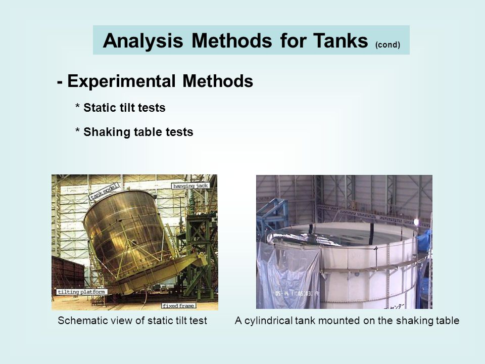 Analysis Methods for Tanks (cond) - Experimental Methods * Static tilt tests * Shaking table tests Schematic view of static tilt test A cylindrical tank mounted on the shaking table